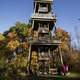 Watchtower of Pike Lake State Park surrounded by Autumn Foliage, Wisconsin