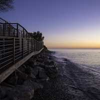Balcony and Walkway on Lake Michigan and landscape