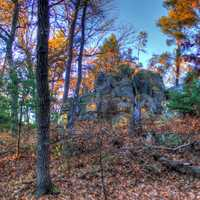 Rock cropping from afar at Roche-A-Cri State park, Wisconsin