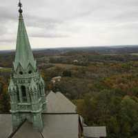 Church Steeple with Autumn landscape