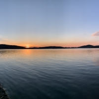 Crystal lake Panoramic sunset view