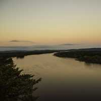 Curving Wisconsin River landscape at Dusk at Ferry Bluff