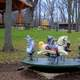 Horse toy thing at a playground around Black Earth, Wisconsin
