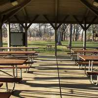 Inside the Picnic Pavilion at Beckman Mill, Wisconsin