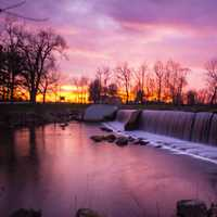 Landscapes and Purple Sunset at Beckman Mill, Wisconsin