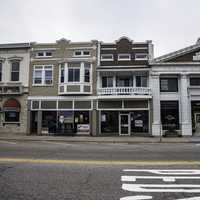 Shop and buildings on main street in Sauk City