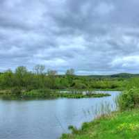 Cloudy Skies over pond at Kickapoo Valley Reserve, Wisconsin