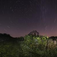 Star Trails over Ruined House
