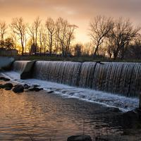 Waterfalls of the Mill at Dusk at Beckman Mill, Wisconsin