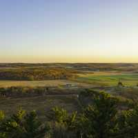 Wisconsin farmland landscape overlook at sunset