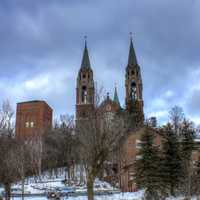 Cathedral from parking lot at Holy Hill, Wisconsin