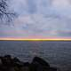 Sunset over the seascape and landscape of Lake Koshkonong in Wisconsin