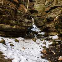 Snow in the Canyon at Parfreys Glen, Wisconsin