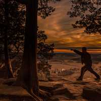 Punching stance at dusk at Gibraltar Rock, Wisconsin Free Stock Photo