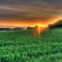 Sunset over the fields in Wisconsin