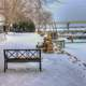Bench in the winter in Sturgeon Bay, Wisconsin