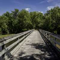 Bridge across the river on bike path on Sugar River State Trail