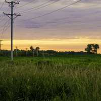 Power Lines and Dusk Landscape at Sugar River State Trail