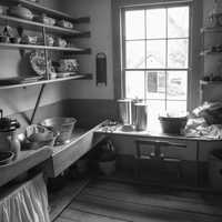 Black and white view of the Kitchen