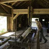 Man working the Sawmill