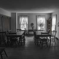 Monochrome black and white dining room at Wade House