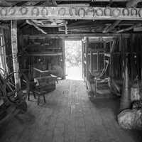 Monochrome of blacksmith shop