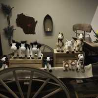 Stuffed animals on a wagon