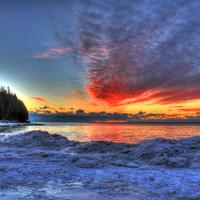 Dawn on the ice at Whitefish Dunes State Park, Wisconsin