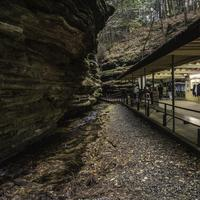 Concession stand, rocks, and stream at Wisconsin Dells