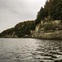 Rocky Shoreline with trees and Autumn Leaves
