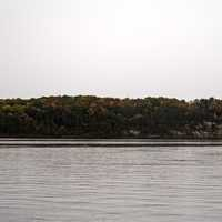 Treeline and Horizon across the Wisconsin River with Autumn Trees
