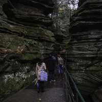 Walking between the Rock formations at Witches Gulch at Wisconsin Dells