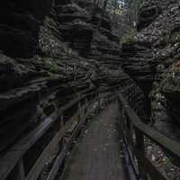 Wooden Walkway between the rocks in Wisconsin Dells