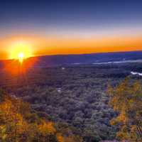 Bright sunset over the Mississippi Valley at Wyalusing State Park, Wisconsin