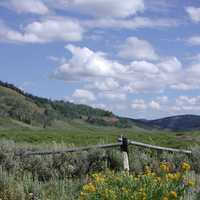 Sierra landscape with grass, sky, and clouds