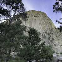 Looking straight up at Devil's Tower from the back