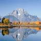 Mount Moran and Lake reflection landscape in Grand Teton National Park, Wyoming