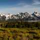 Snow-capped Mountains Landscape in Grand Teton National Park