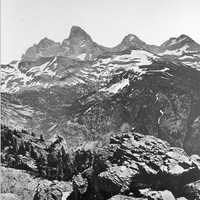 Three Tetons landscape in Grand Teton National Park, Wyoming, 1872