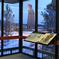 Lincoln Monument as seen from inside the Summit Information Center near Laramie, Wyoming