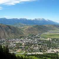 Overview of the town of Jackson, Wyoming from Snow King Resort