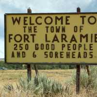 Sign welcoming you to Fort Laramie, Wyoming