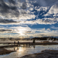 Clouds and sky over the scenic landscape at Yellowstone National Park, Wyoming