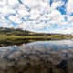 Cloud reflections at Lamar Valley at Yellowstone National Park