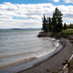 Curved lakeshore landscape at Yellowstone Lake