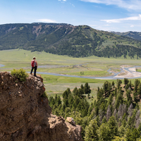 Hiker Overlooking the Lamar Valley in Yellowstone National Park