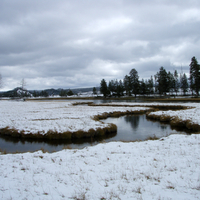Landscape on the Firehole River at Yellowstone National Park, Wyoming