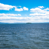Landscape view across Yellowstone Lake