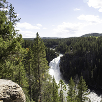 Overview of the landscape of Upper Yellowstone Falls