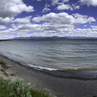 Panoramic View of Yellowstone Lake under clouds
